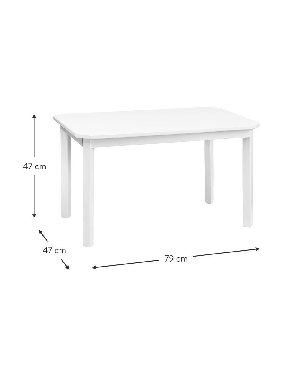 Holz-Kindertisch Harlequin, Birkenholz, Mitteldichte Holzfaserplatte (MDF), lackiert mit VOC-freier Farbe, Weiß, 79 x 47 cm