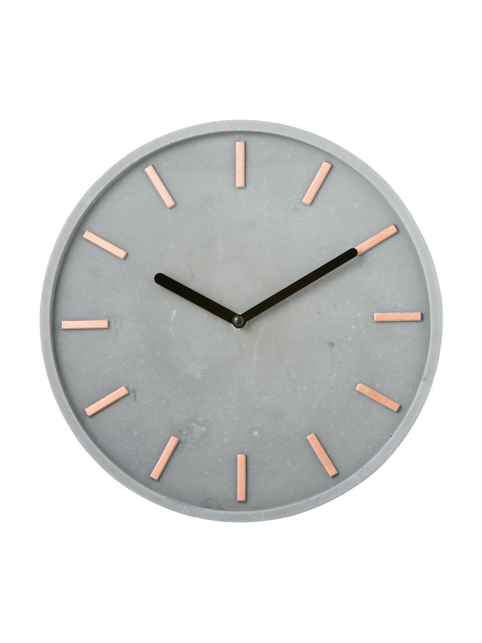 Wanduhr Gela, Ziffernblatt: Beton mit eingegossenen, , Zeiger: Metall, Grau, Ø 28 cm