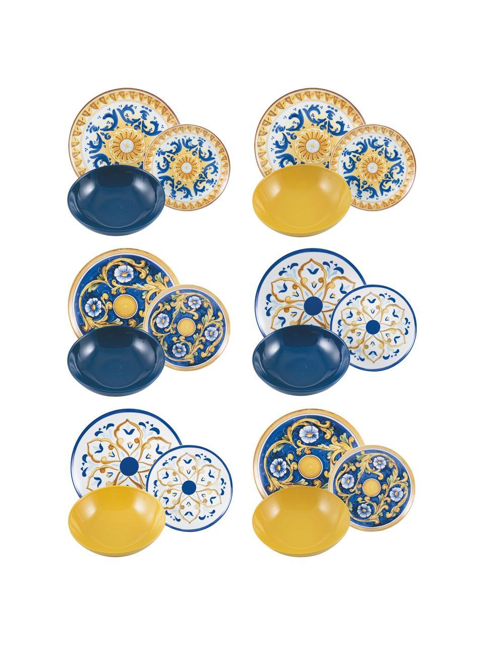 Geschirrset Sicilia, 6 Personen (18-tlg.), Weiß, Dunkelblau, Gelb, Set mit verschiedenen Größen