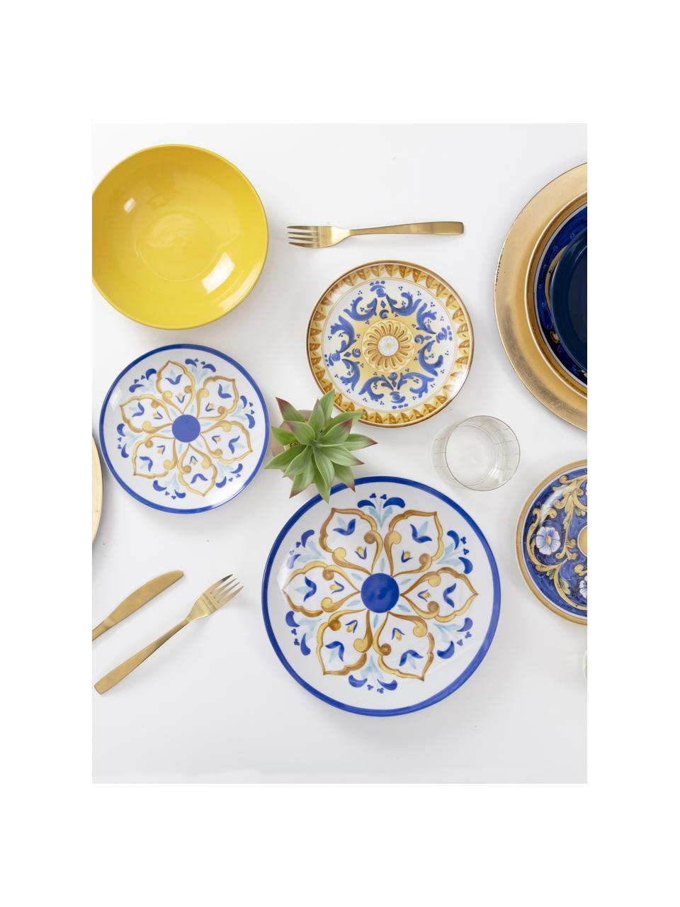 Service de table Sicilia, 6 personnes (18élém.), Blanc, bleu foncé, jaune
