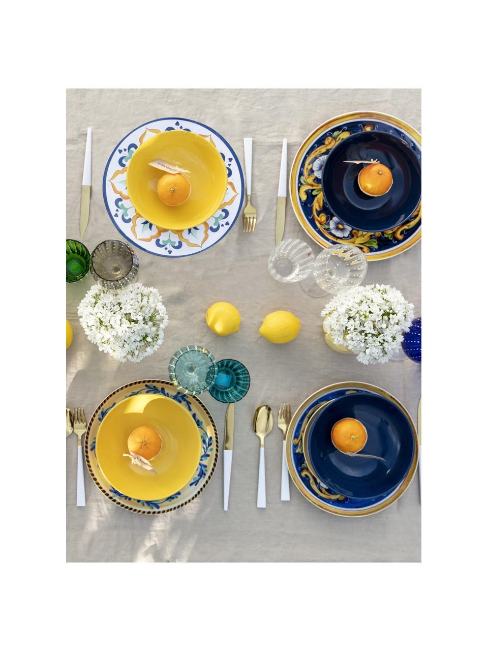 Komplet naczyń Sicilia, 18 elem., Biały, ciemny niebieski, żółty, Komplet z różnymi rozmiarami