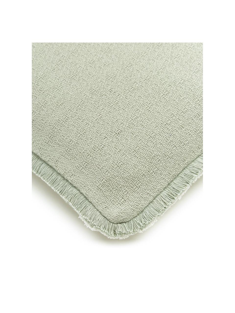 Wendekissenhülle Loran in Mintgrün mit dekorativen Fransen, 100% Baumwolle, Grün, 40 x 40 cm