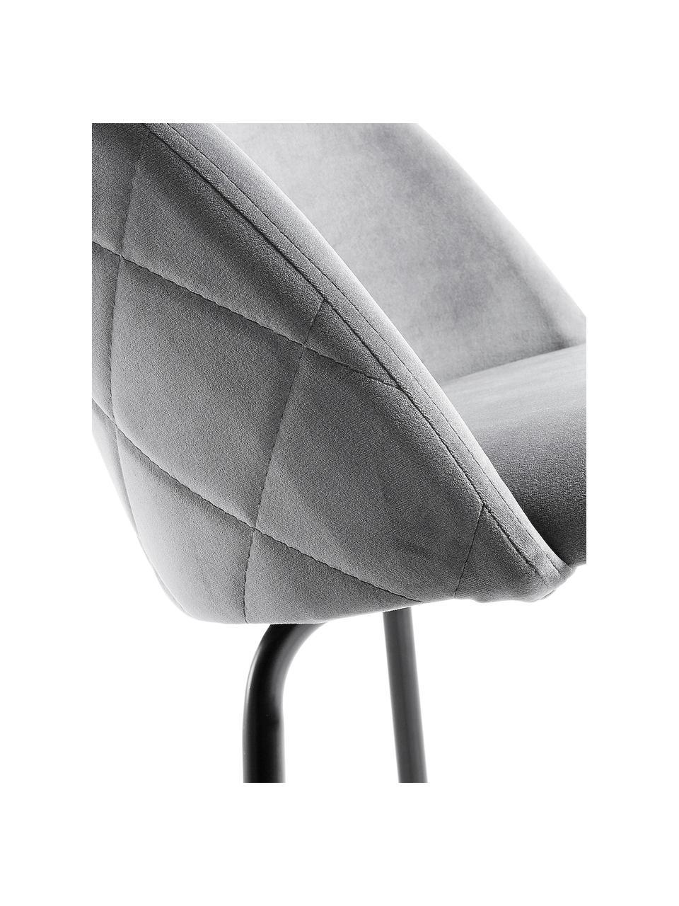 Samt-Barhocker Ivonne, Bezug: Polyestersamt, Gestell: Metall, lackiert, Grau, Schwarz, 53 x 108 cm