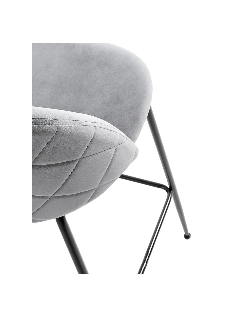 Samt-Barhocker Ivonne in Grau, Bezug: Polyestersamt, Gestell: Metall, lackiert, Grau, Schwarz, 53 x 108 cm