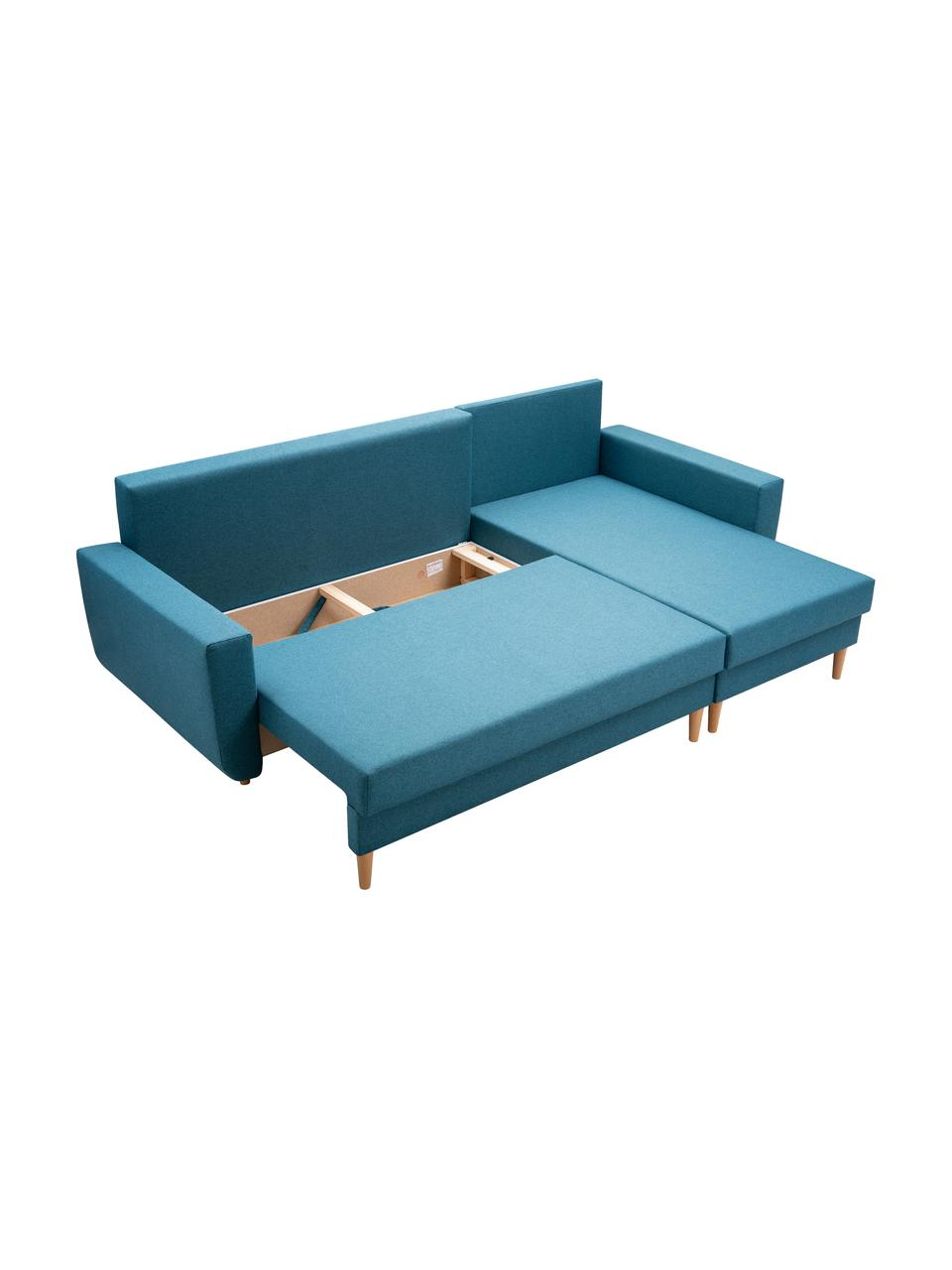 Sofa narożna z funkcją spania i miejscem do przechowywania Neo (4-osobowa), Tapicerka: 100% poliester, Turkusowoniebieski, S 230 x G 140 cm