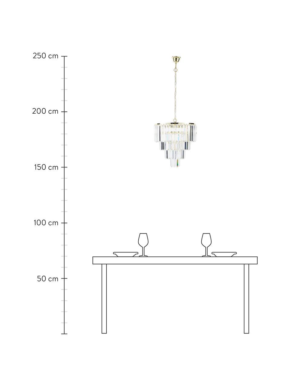 Kroonluchter Gracja in goudkleur, Lampenkap: glas, Baldakijn: metaal, Goudkleurig, transparant, Ø 39  x H 42 cm