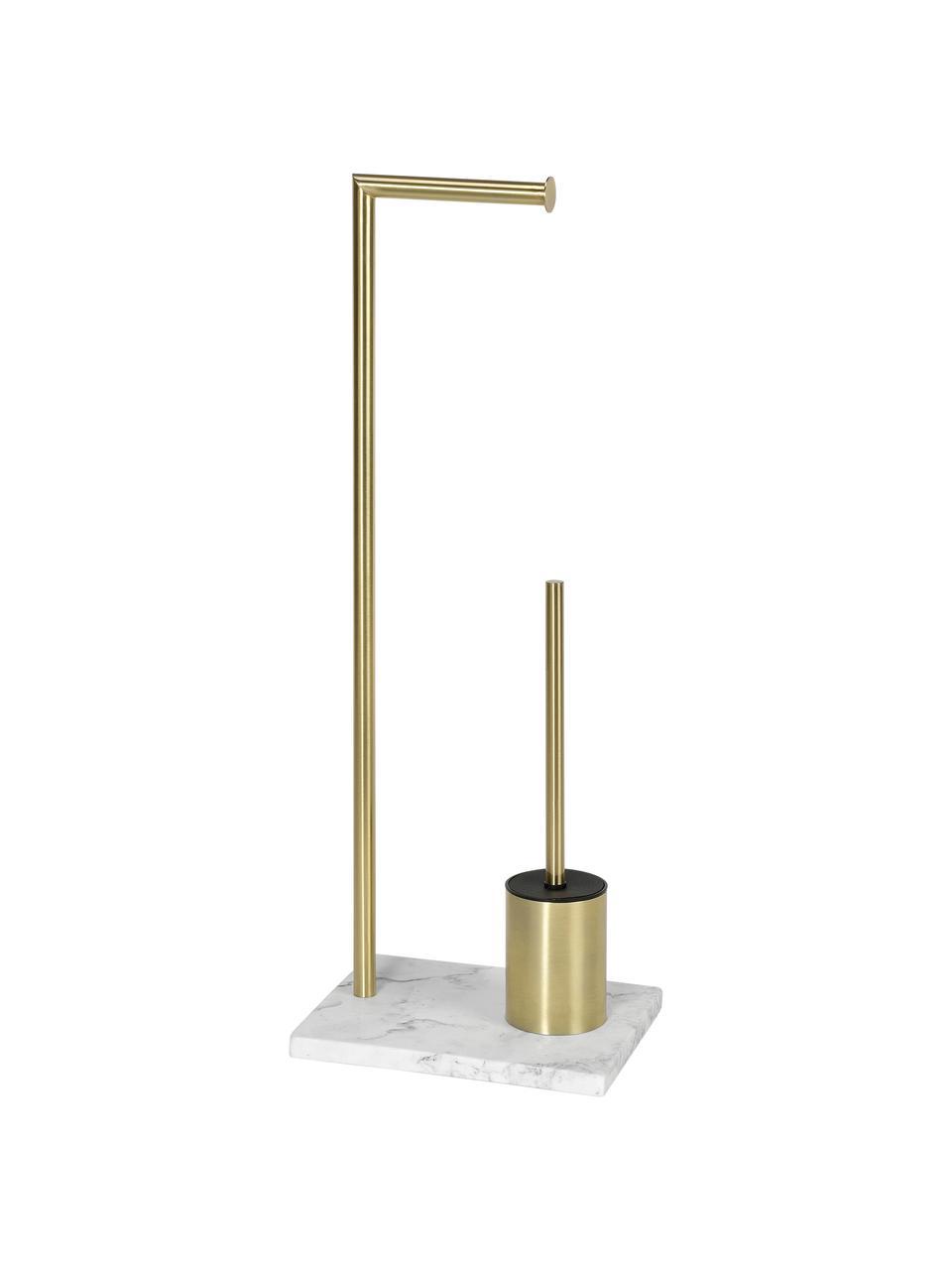 Toilettenpapierhalter Albany mit Toilettenbürste, Halter: Metall, beschichtet, Messingfarben, Weiß, 27 x 73 cm