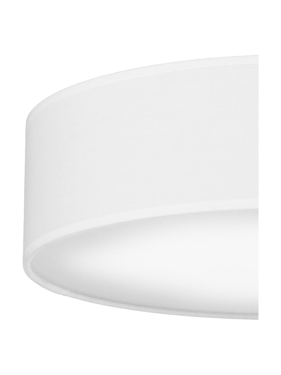 Plafoniera fatta a mano Mika, Paralume: cotone, Disco diffusore: materiale sintetico, Bianco, Ø 40 x Alt. 10 cm