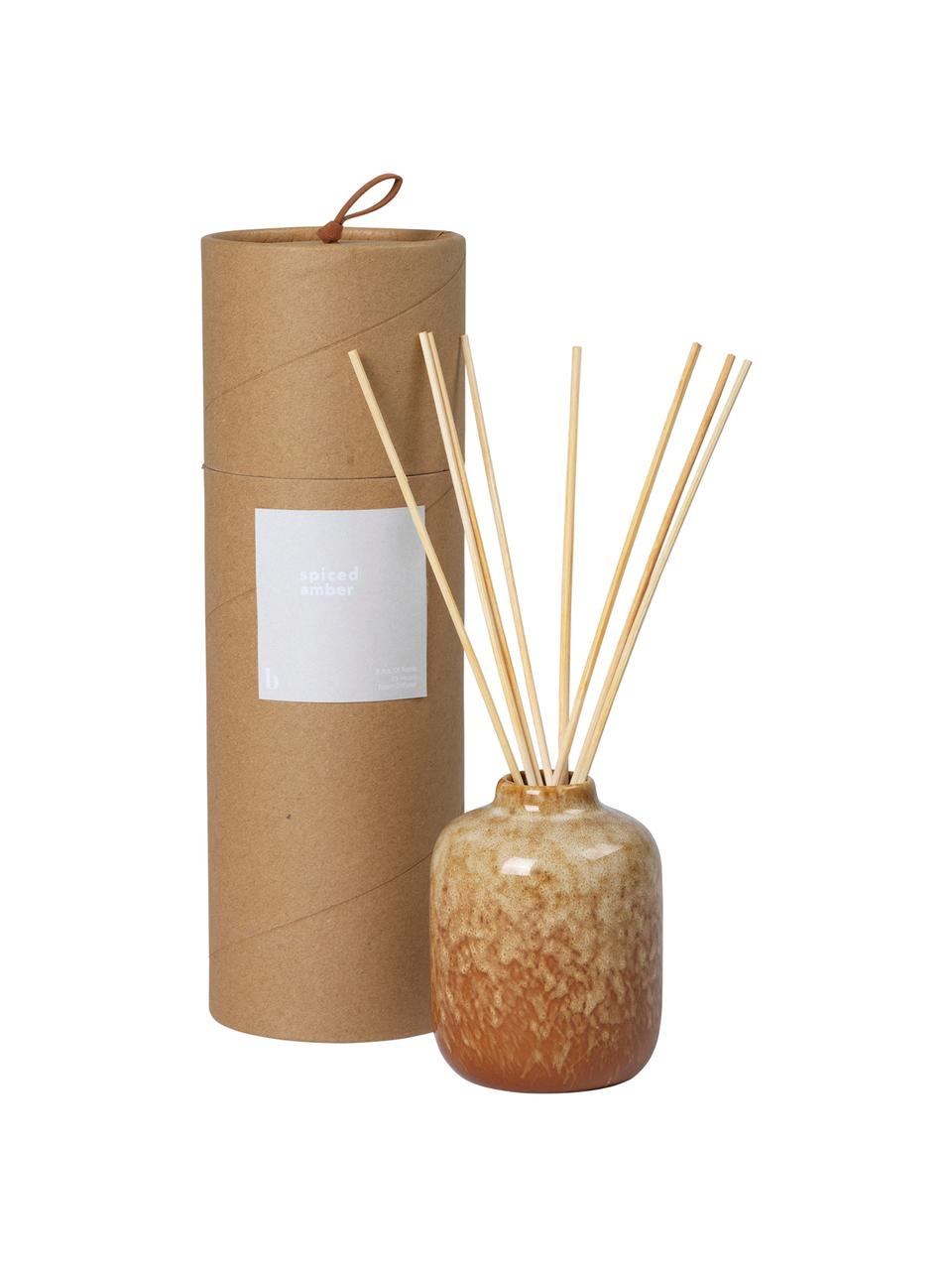 Diffuser Spiced Amber (Ambra), Behälter: Keramik, Brauntöne, Ø 7 x H 9 cm