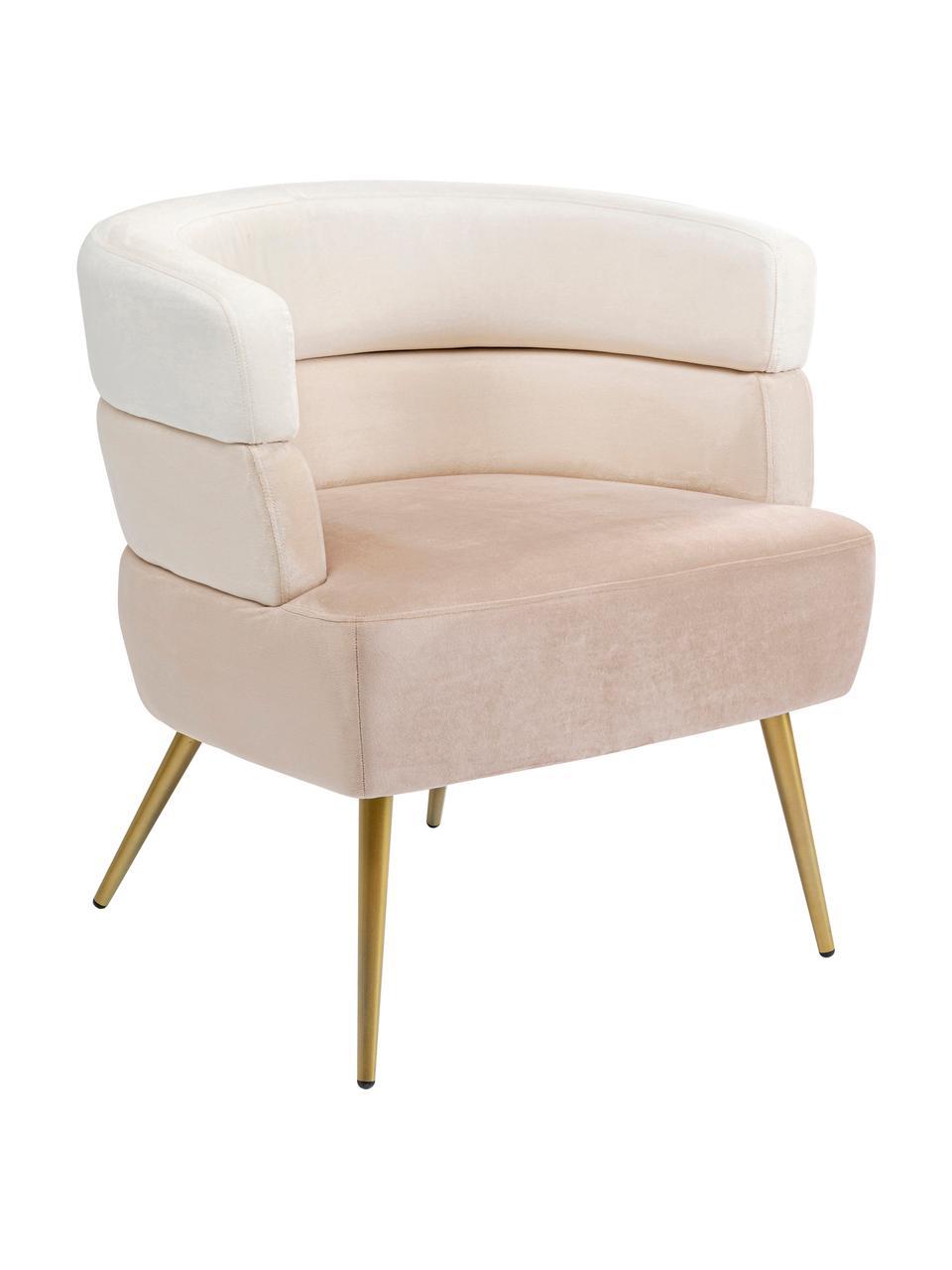 Fotel z aksamitu w stylu retro Sandwich, Tapicerka: aksamit poliestrowy, Nogi: metal powlekany, Beżowy, S 65 x G 64 cm