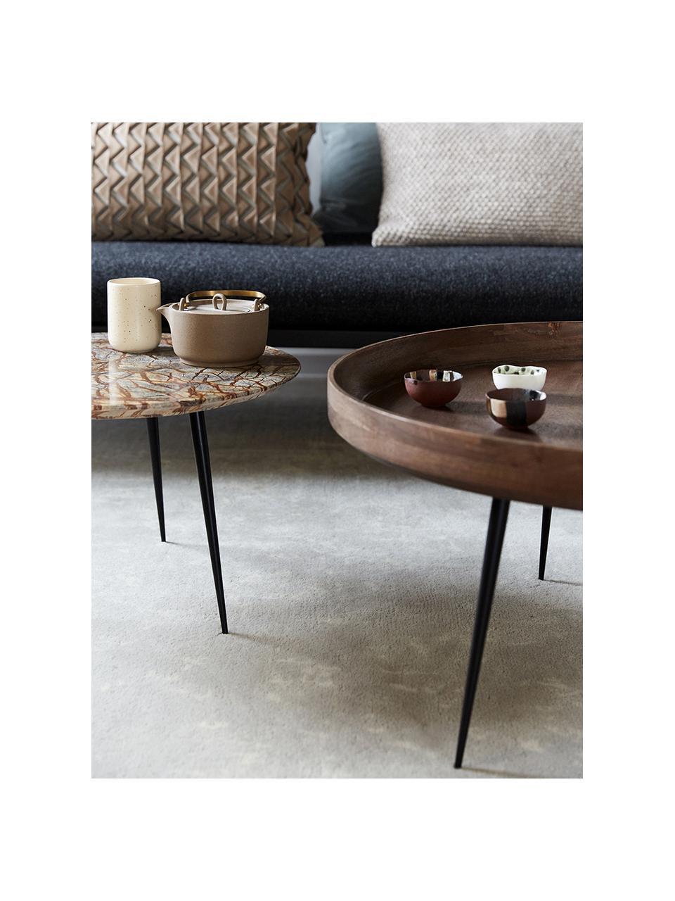 Stolik kawowy z drewna mangowego Bowl Table, Blat: drewno mangowe, barwione, Nogi: stal malowana proszkowo, Szarobrązowy, Ø 75 x W 38 cm