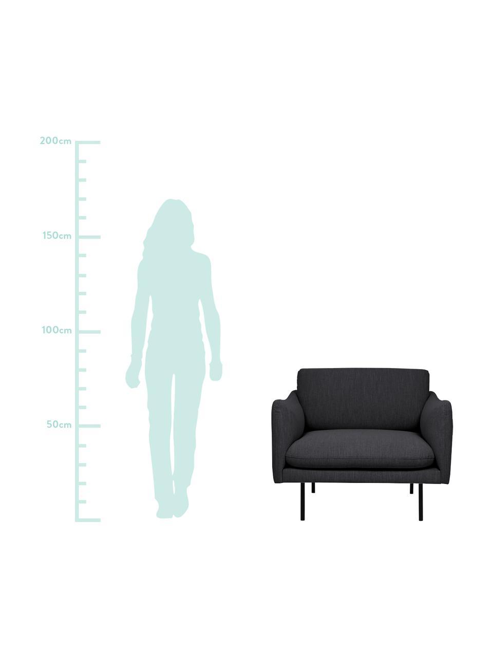 Fotel z metalowymi nogami Moby, Tapicerka: poliester Dzięki tkaninie, Tapicerka: pianka na zawieszeniu spr, Nogi: metal malowany proszkowo, Ciemnyszary, S 90 x G 90 cm