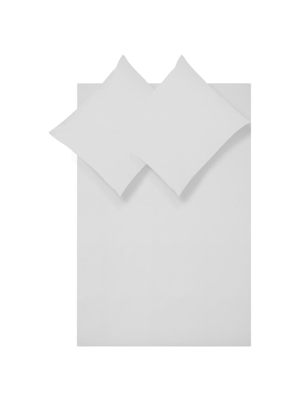 Perkal dekbedovertrek Elsie, Weeftechniek: perkal Draaddichtheid 200, Lichtgrijs, 240 x 220 cm + 2 kussen 60 x 70 cm