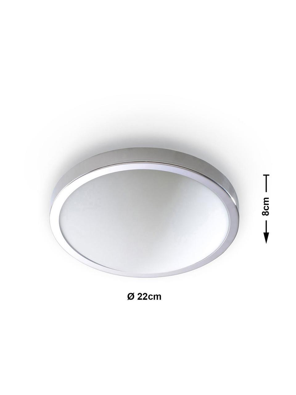 Kleine Deckenleuchte Calisto, Diffusorscheibe: Glas, Chrom, Weiß, Ø 22 x H 8 cm