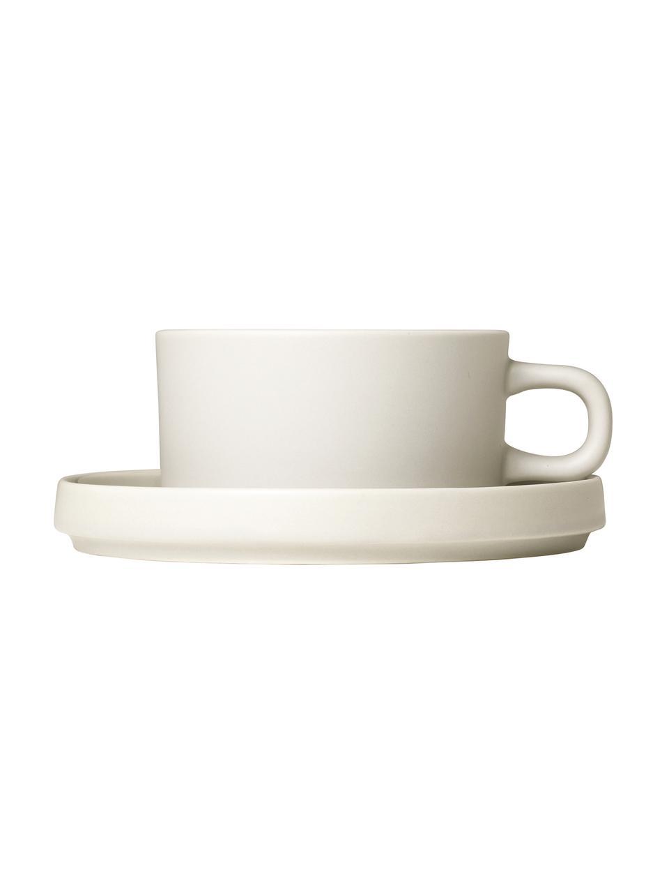 Tasse beige mat/brillant Pilar, 2 pièces, Blanc crème