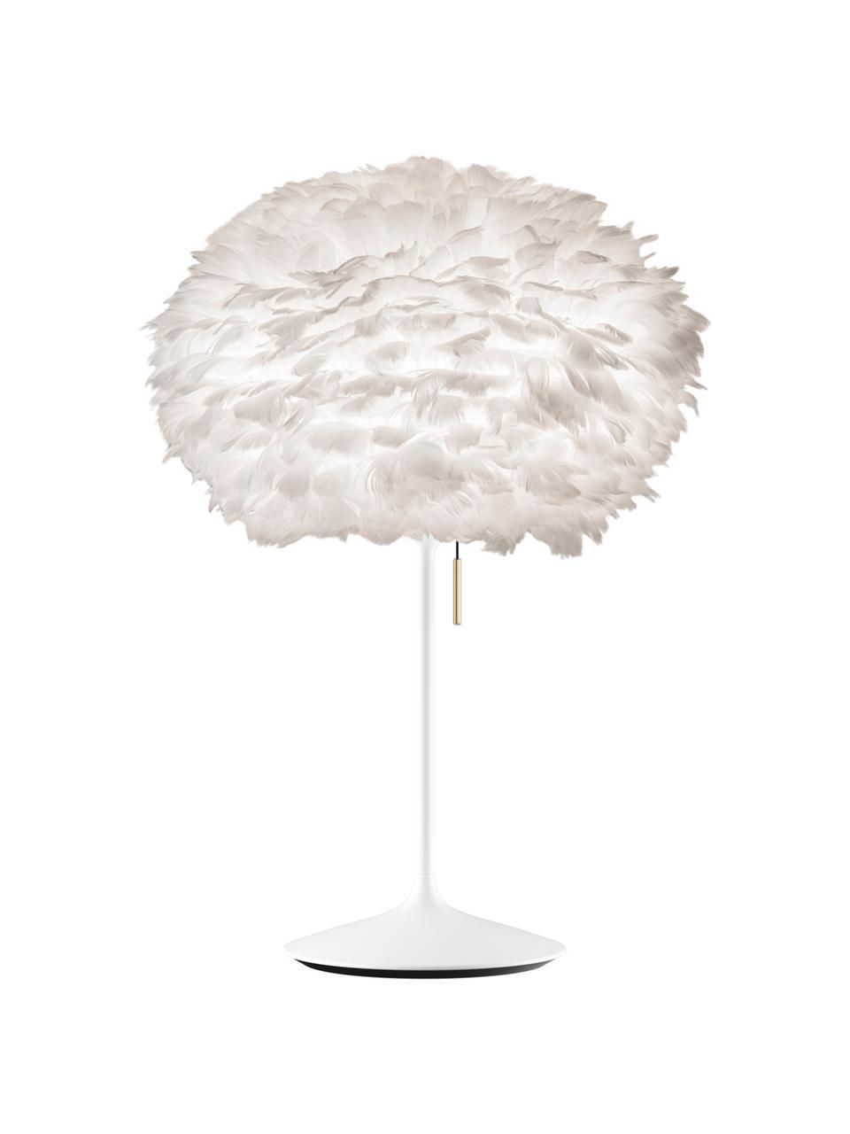Duża lampa stołowa z piór Eos, Biały, Ø 45 x W 72 cm