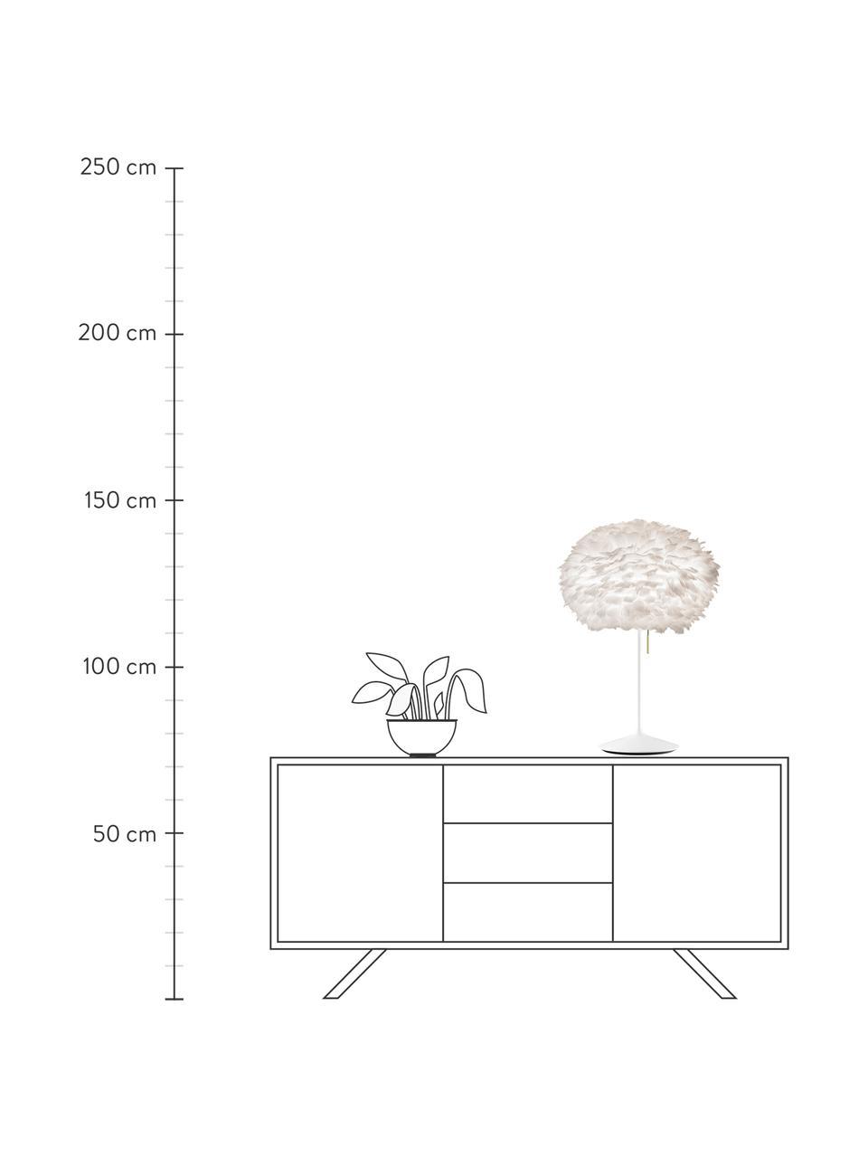 Lampada da tavolo in piume Eos Champagne, Paralume: piume d'oca, Base della lampada: alluminio verniciato, Bianco, Ø 45 x Alt. 72 cm