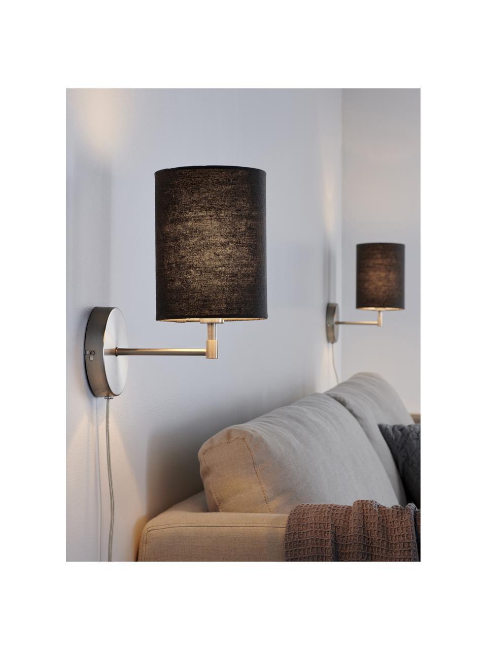 Klassische Wandleuchten Seth mit Stecker, 2 Stück, Lampenschirm: Textil, Grau, Nickelfarben, Ø 15 x H 32 cm