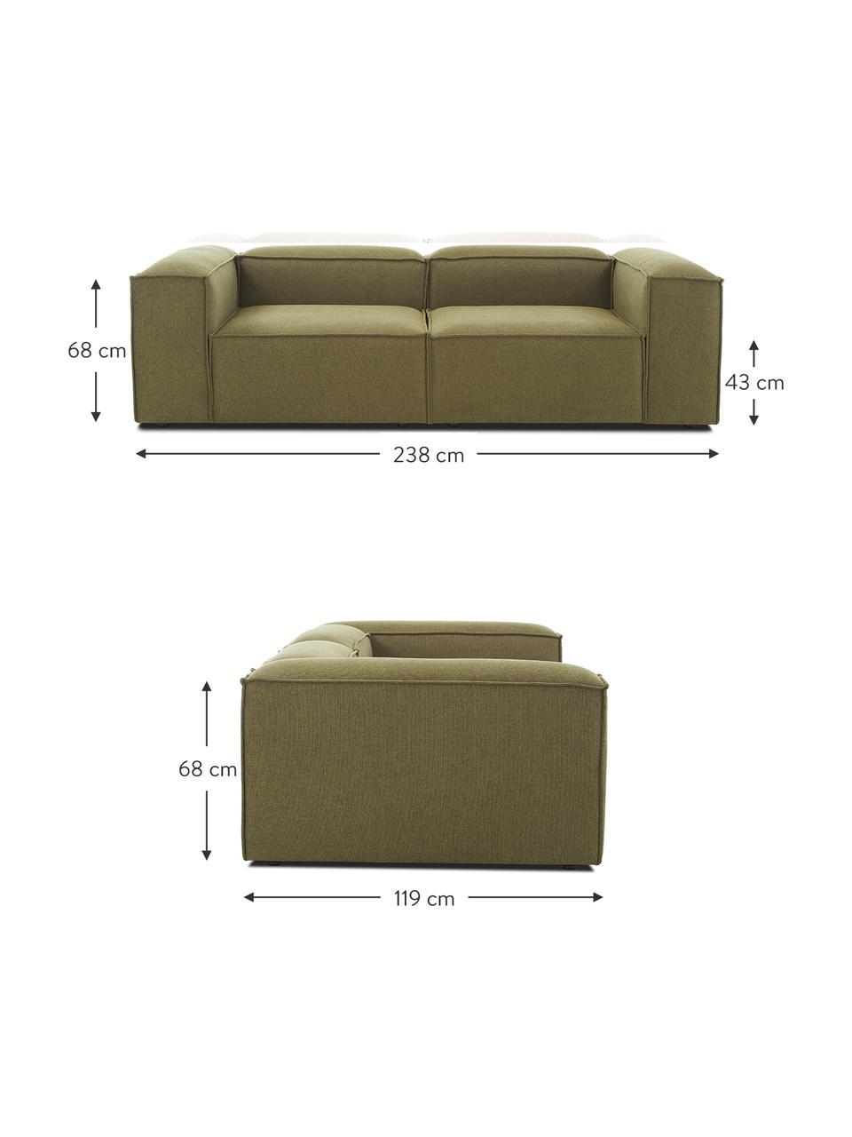 Modulares Sofa Lennon (3-Sitzer) in Grün, Bezug: Polyester Der hochwertige, Gestell: Massives Kiefernholz, Spe, Füße: Kunststoff Die Füße befin, Webstoff Grün, B 238 x T 119 cm