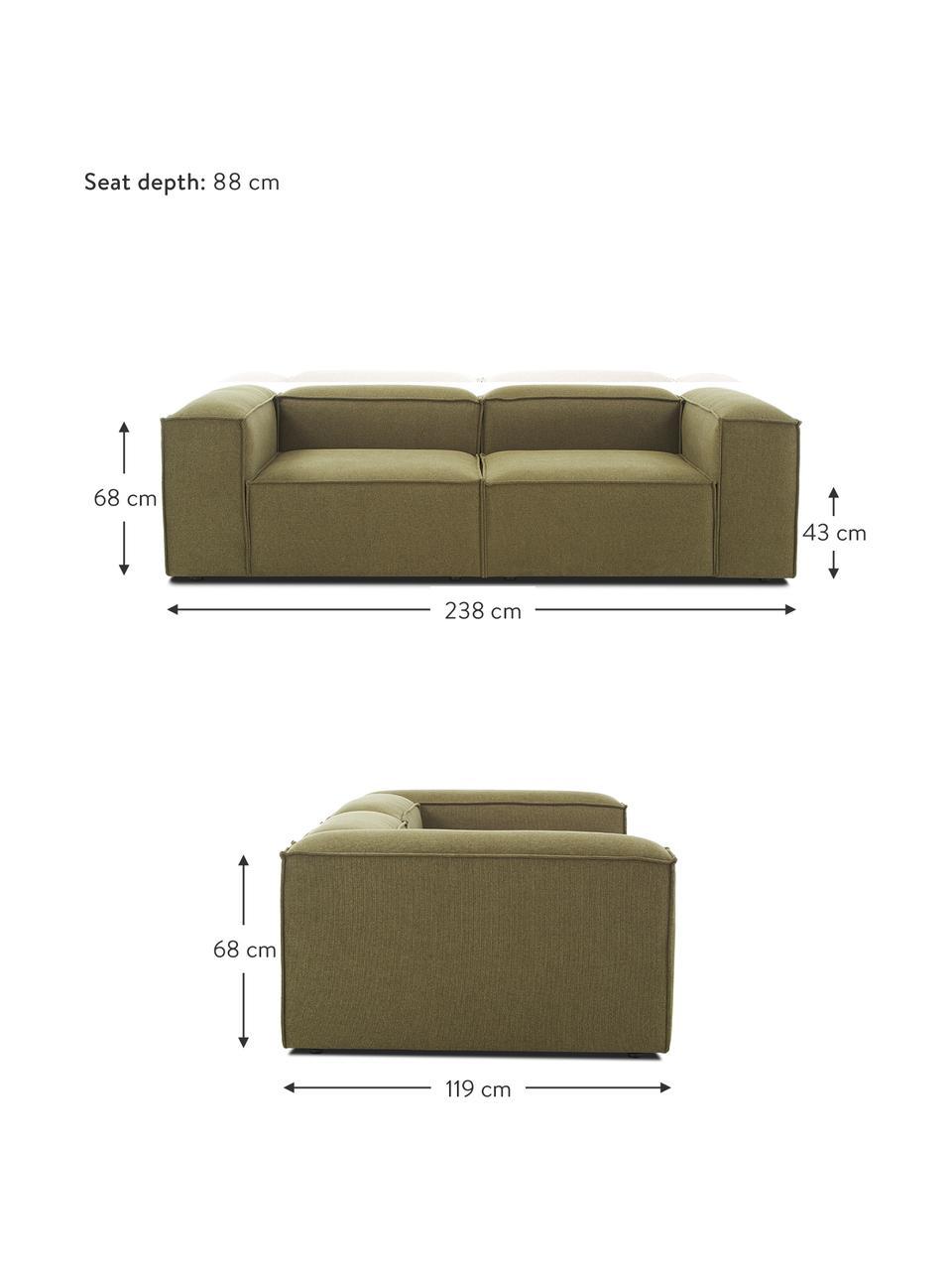Canapé 3places modulable vert Lennon, Tissu vert