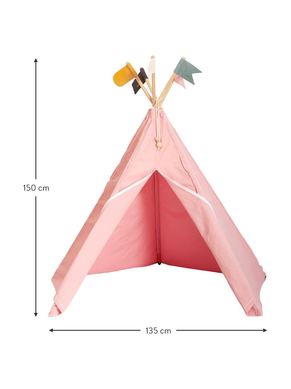 Kinder-tipi Hippie van biokatoen, 100% biokatoen, GOTS-gecertificeerd, Roze, 135 x 135 cm