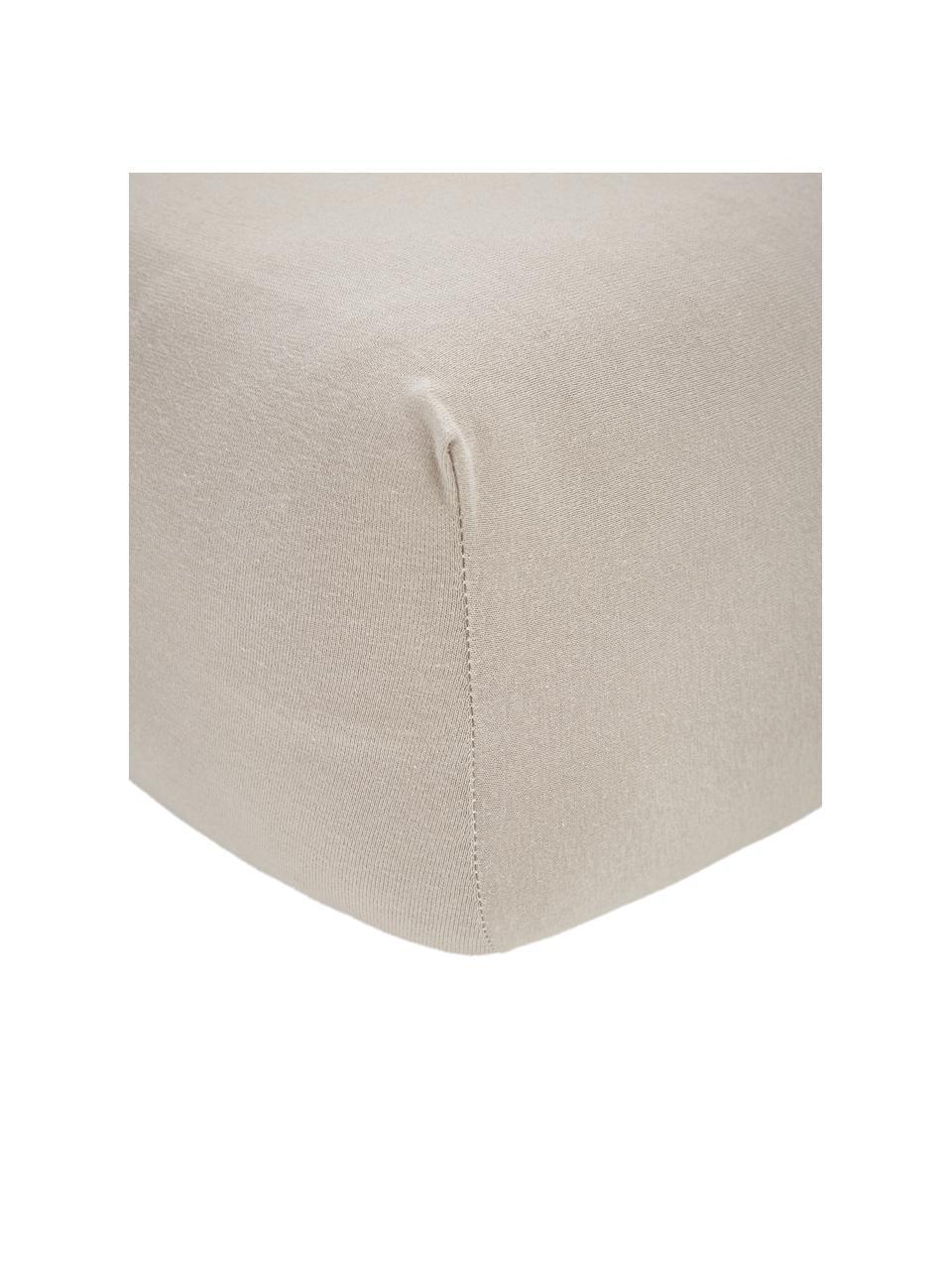 Prześcieradło z gumką na topper z jerseu i elastanem Lara, 95% bawełna, 5% elastan, Taupe, S 200 x D 200 cm