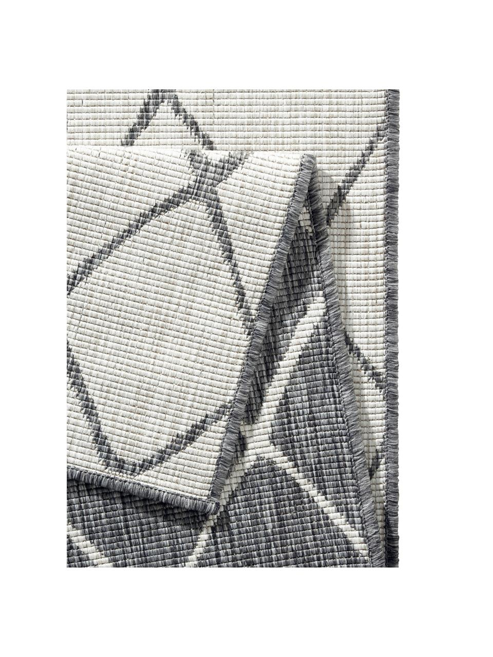 In- & Outdoor-Wendeteppich Malaga mit Rautenmuster, Grau/Creme, 100% Polypropylen, Grau, Cremefarben, B 160 x L 230 cm (Größe M)