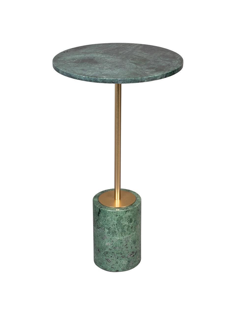 Runder Marmor-Beistelltisch Gunnar, Grün, marmoriert, Ø 38 x H 65 cm
