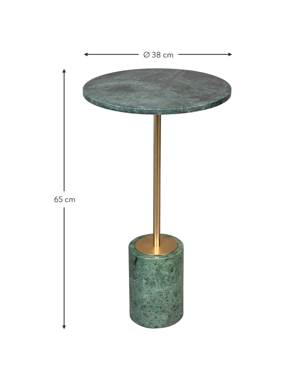 Table d'appoint ronde en marbre Gunnar, Vert, marbré
