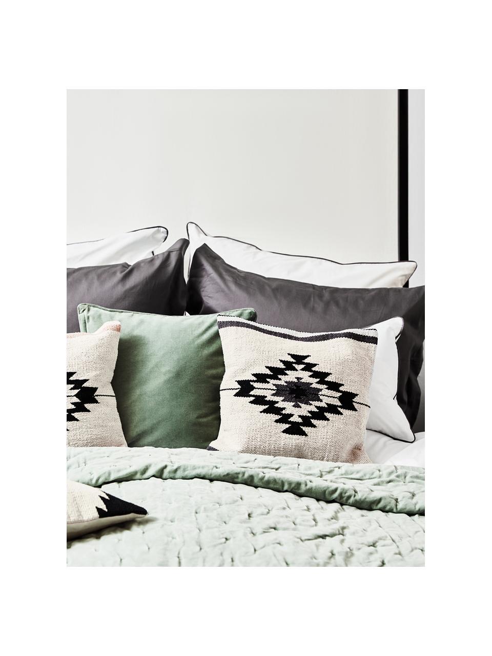 Poszewka na poduszkę w stylu etno Toluca, 100% bawełna, Czarny, beżowy, szary, S 45 x D 45 cm