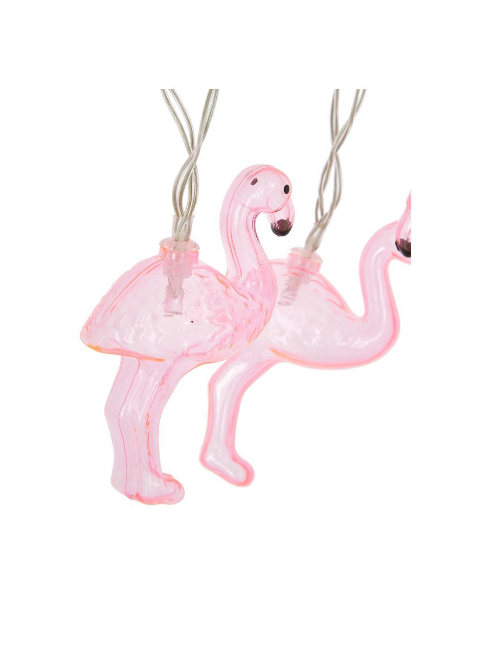 Ghirlanda  a LED Flamingo, 230 cm, 10 lampioni, Rosa, Lung. 230 cm