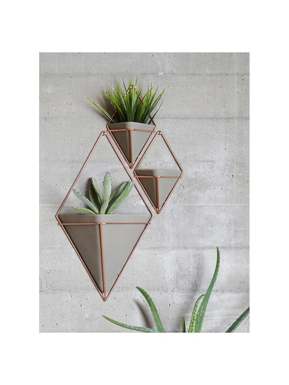 Wandaufbewahrungs-Schale Trigg aus Beton, Aufbewahrung: Beton, Grau, Kupfer matt, 22 x 38 cm