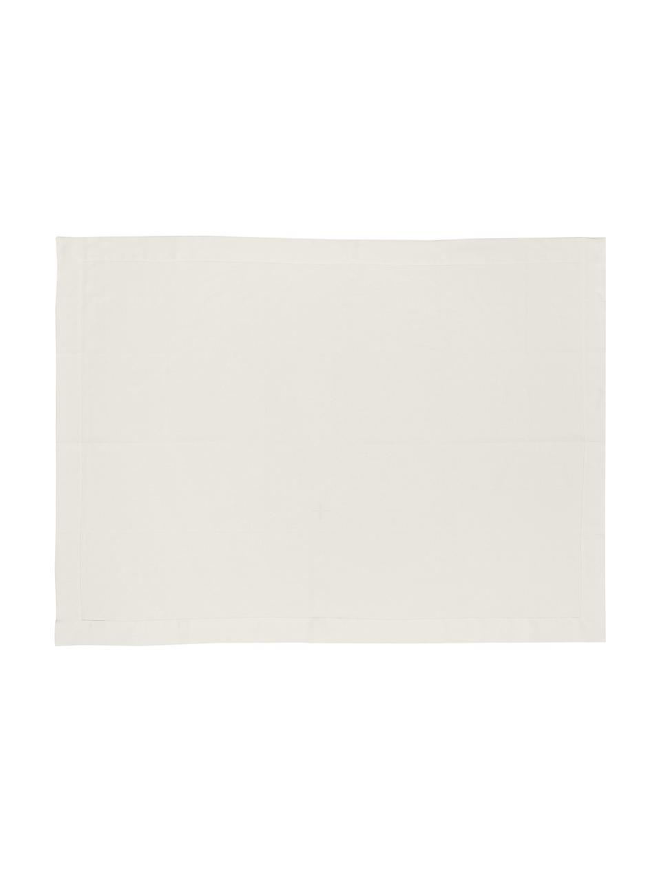 Linnen tafelkleed Alanta met open zoom, Crèmewit, Voor 4 - 6 personen (B 130 x L 170 cm)