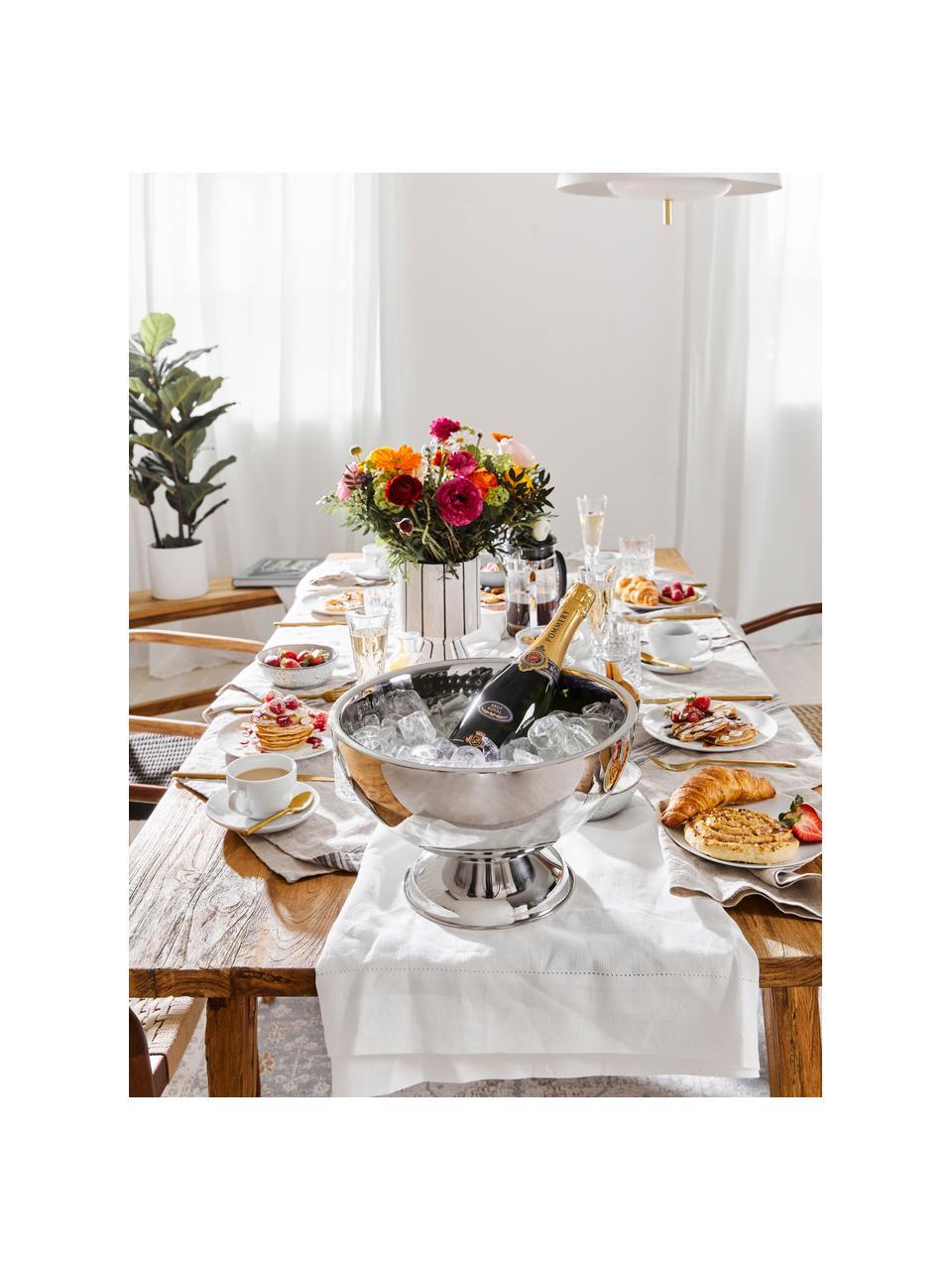 Tovaglia in lino con orlo a giorno Alanta, Bianco crema, Per 4-6 persone  (Larg. 130 x Lung. 170 cm)