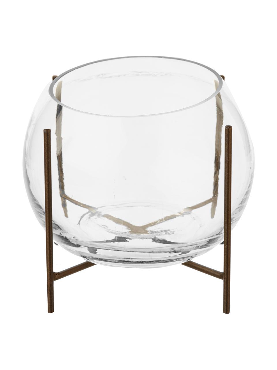 Mały wazon ze metalowym stelażem Ada, Stelaż: metal powlekany, Odcienie mosiądzu, transparentny, Ø 8 x W 11 cm