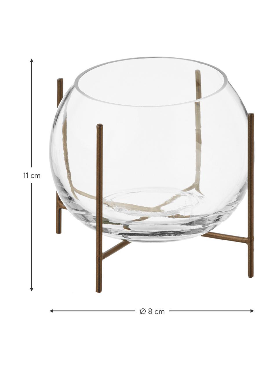 Petit vase boule sur support en métal Ada, Couleur laitonnée, transparent