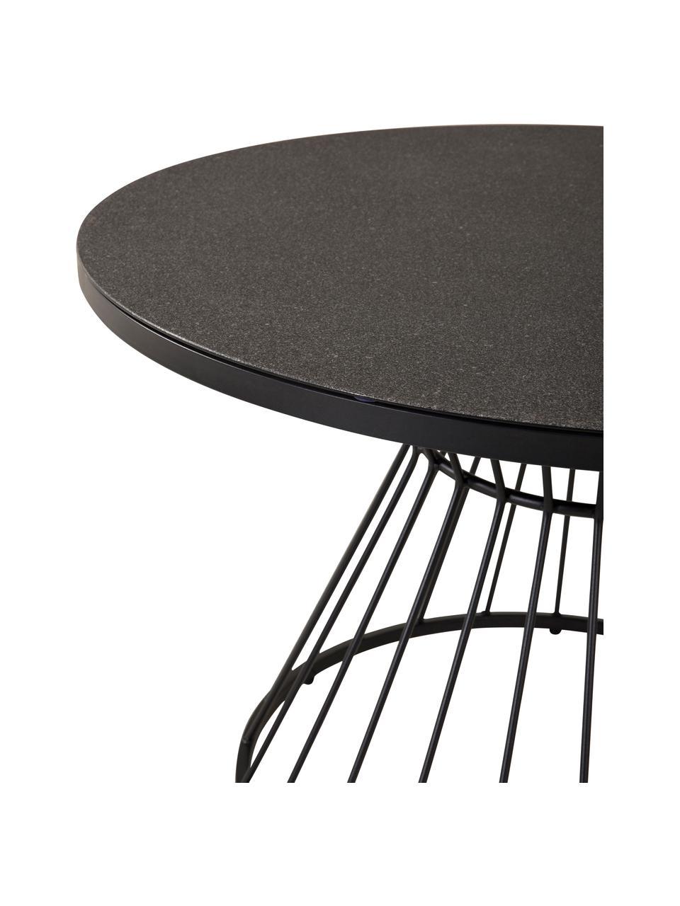 Runder Esstisch Tropea mit Metallgestell, Tischplatte: Glas, Gestell: Metall, pulverbeschichtet, Schwarz, Ø 110 cm
