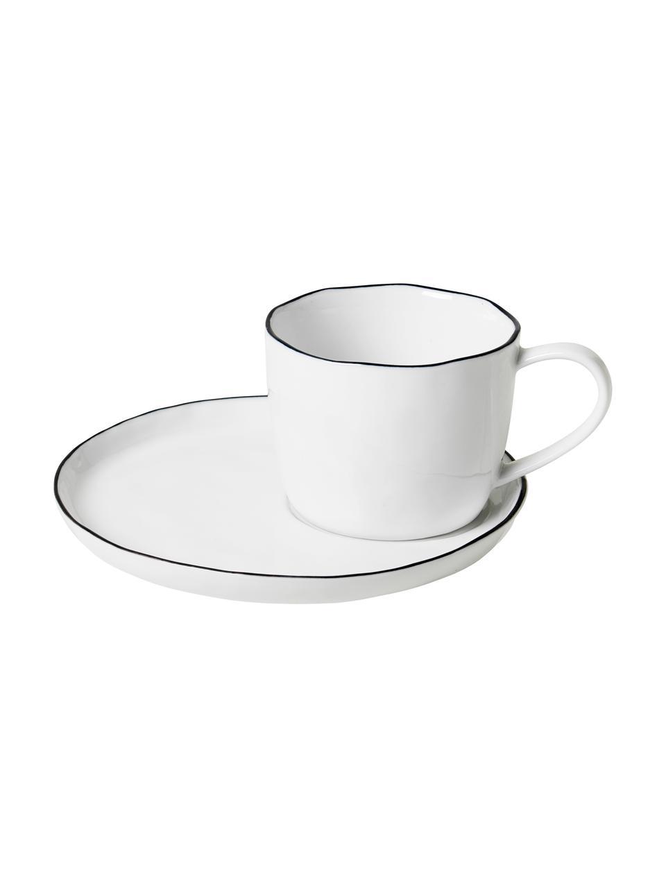 Handgemachte Tasse mit Untertasse Salt mit schwarzem Rand, Porzellan, Gebrochenes Weiß, Schwarz, Ø 8 x H 7 cm