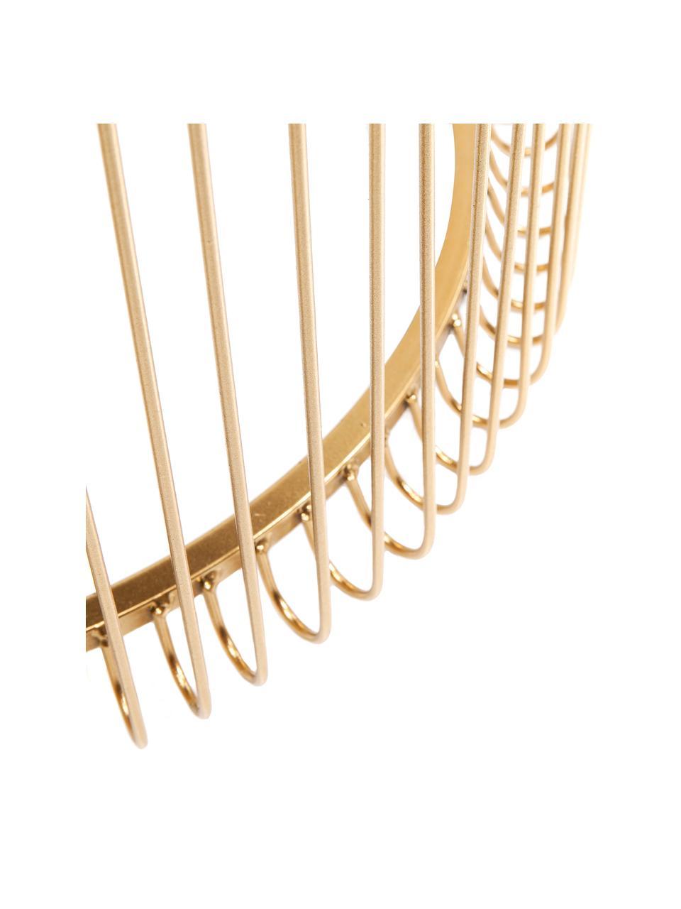 Komplet stolików pomocniczych z metalu ze szklanym blatem Wire, 2 elem., Stelaż: metal malowany proszkowo, Blat: szkło hartowane, foliowan, Złoty, Komplet z różnymi rozmiarami