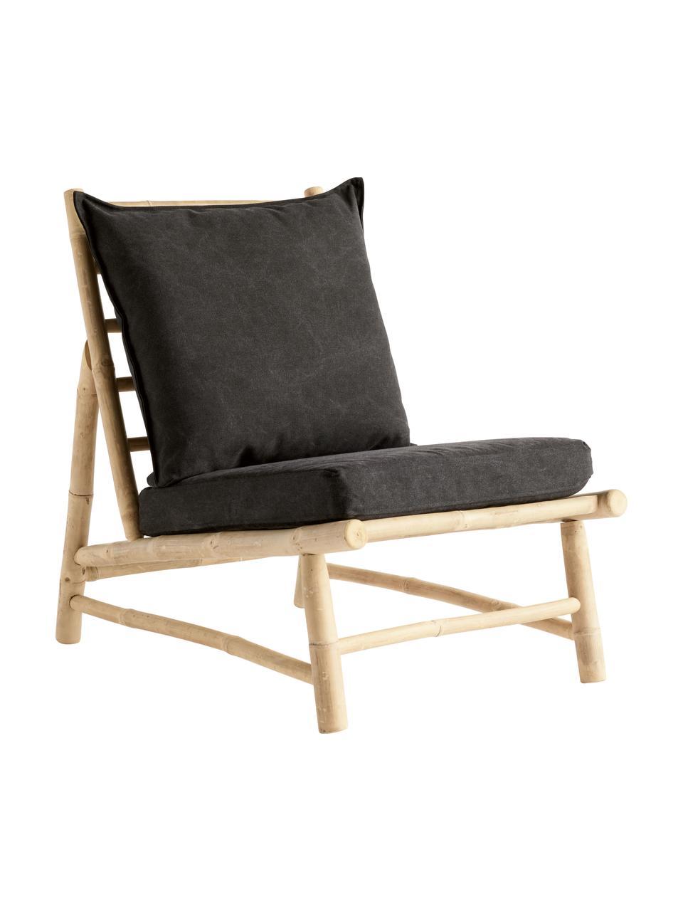 Fotel wypoczynkowy z drewna bambusowego Bamslow, Stelaż: drewno bambusowe, Tapicerka: 100% bawełna, Ciemnyszary, brązowy, S 55 x G 87 cm