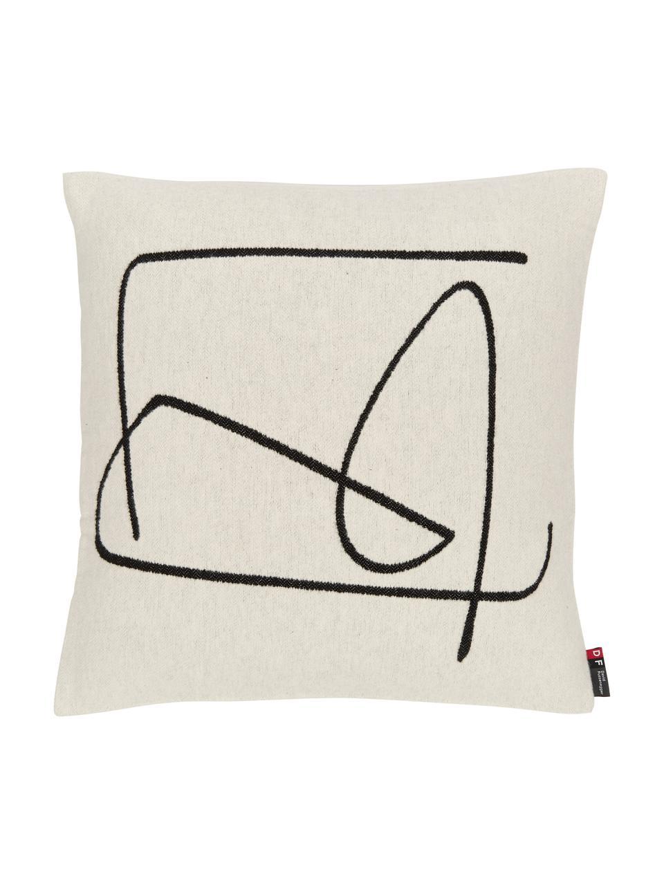 Poszewka na poduszkę Nova, Tapicerka: 85% bawełna, 8% wiskoza, , Biały, czarny, S 50 x D 50 cm