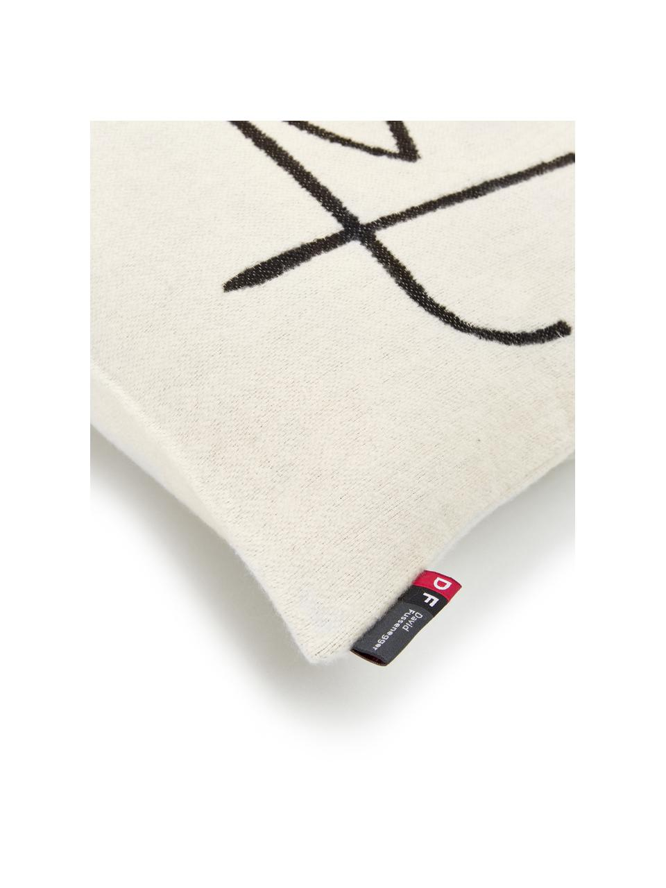 Federa arredo con stampa astratta Nova, Rivestimento: 85% cotone, 8% viscosa, 7, Bianco, nero, Larg. 50 x Lung. 50 cm