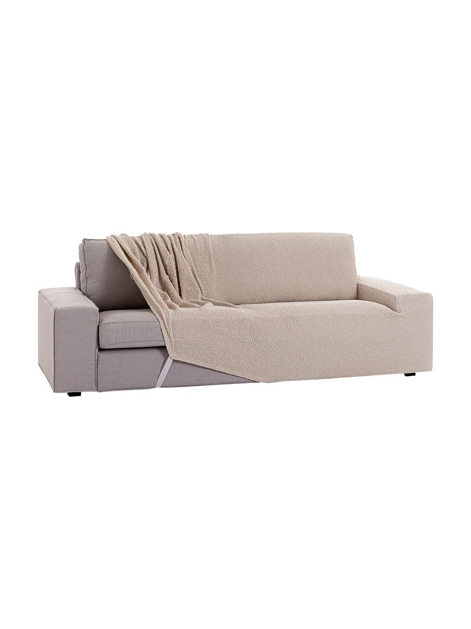 Copertura divano Roc, 55% poliestere, 35% cotone, 10% elastomero, Beige, Larg. 260 x Alt. 120 cm
