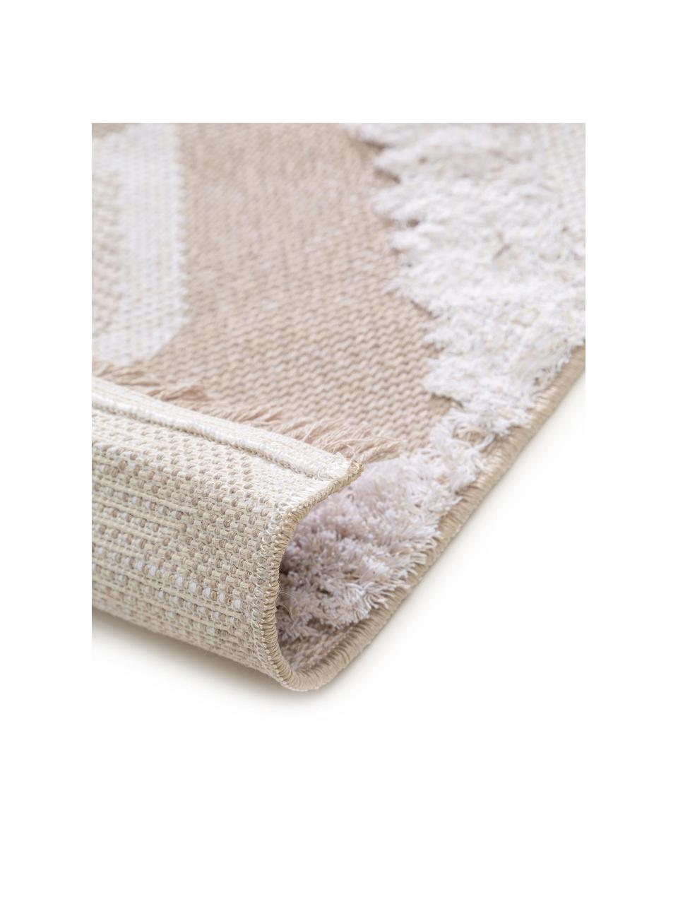Waschbarer Boho Baumwollteppich Oslo Squares mit Hoch-Tief-Muster, 100% Baumwolle, Cremeweiß, Beige, B 75 x L 150 cm (Größe XS)