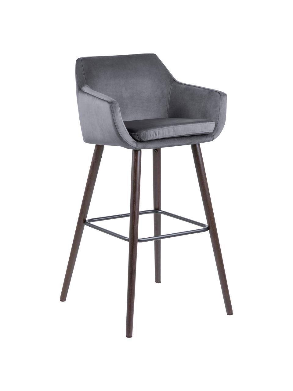 Samt-Barstühle Nora in Grau, 2 Stück, Bezug: Polyestersamt 25.000 Sche, Beine: Eichenholz, gebeizt und g, Samt Dunkelgrau, Beine: Eiche, 55 x 101 cm