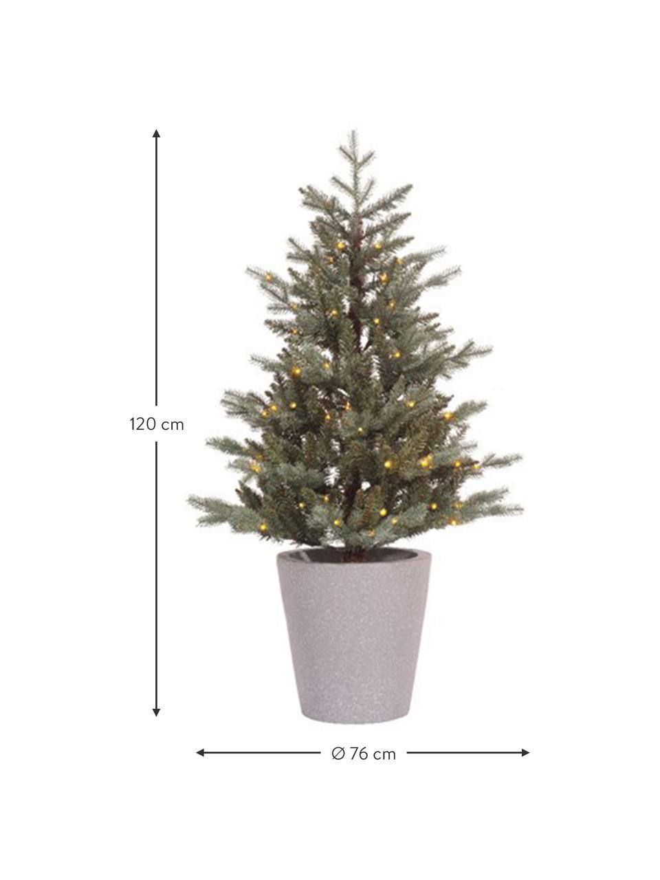 Batteriebetriebener, künstlicher LED-Weihnachtsbaum Allison H 120 cm, Grün, Grau, Ø 76 x H 120 cm