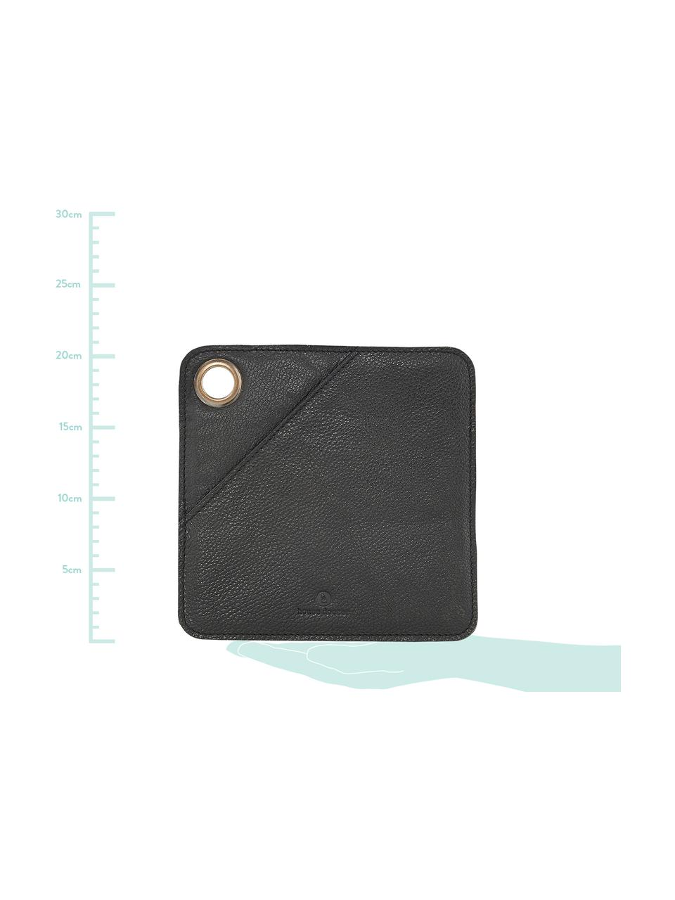 Leder-Topflappen Square, 2 Stück, Lappen: Leder, Öse: Metall, beschichtet, Schwarz, Messingfarben, 21 x 21 cm