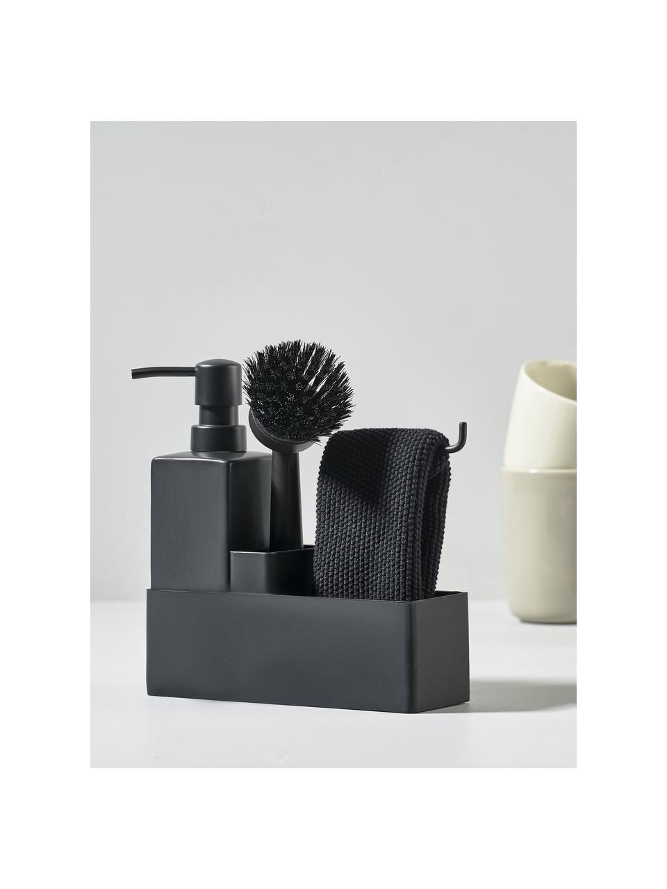 Dozownik na płyn do naczyń ze szczotką Parta, Ceramika, silikon, Czarny, S 19 x W 21 cm