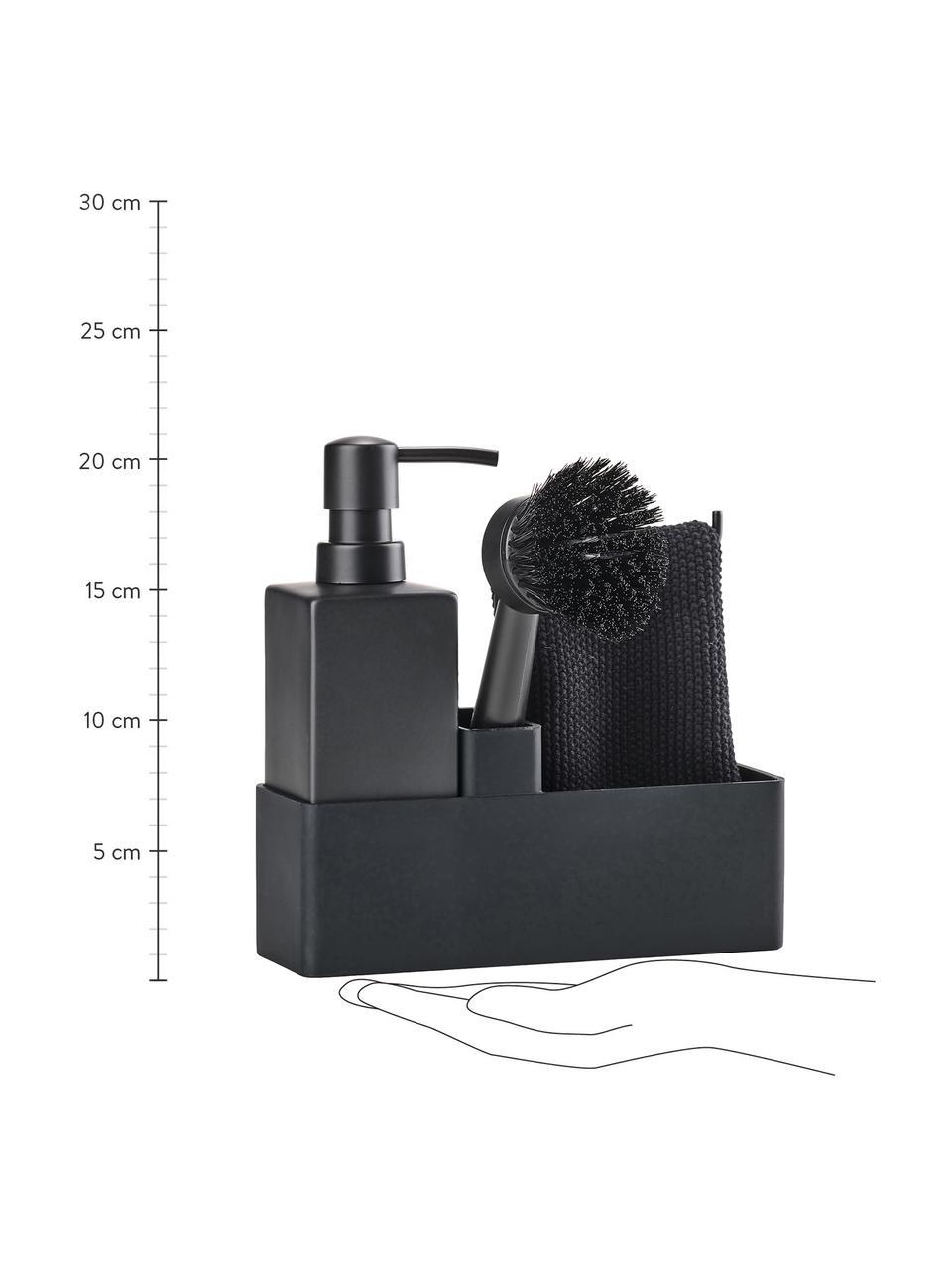 Afwasmiddelbakje Parta met afwasborstel, 3-delig, Keramiek, siliconen, Zwart, 19 x 21 cm