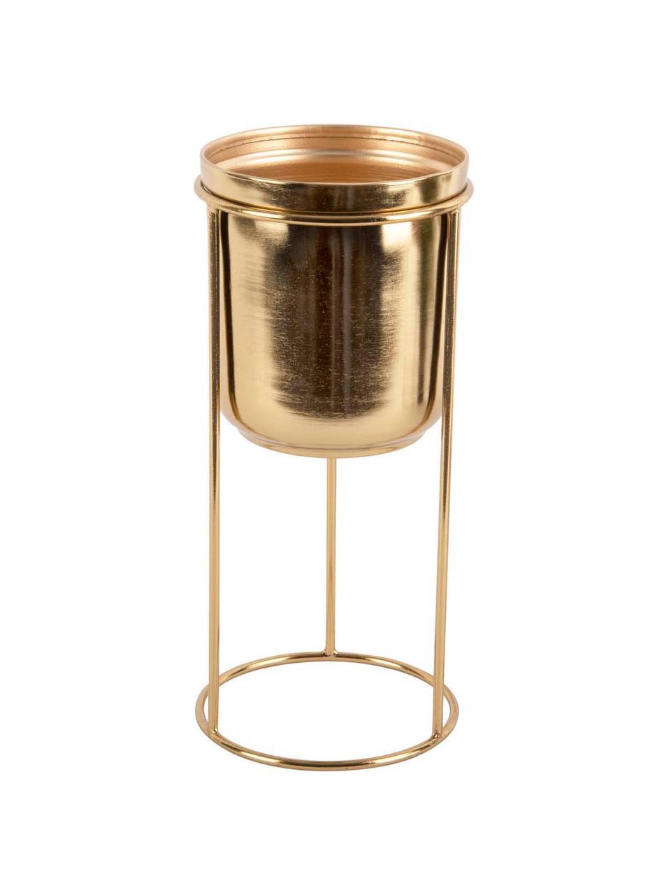 Mała osłonka na doniczkę z metalu Tub, Metal powlekany, Odcienie mosiądzu, Ø 12 x W 27 cm